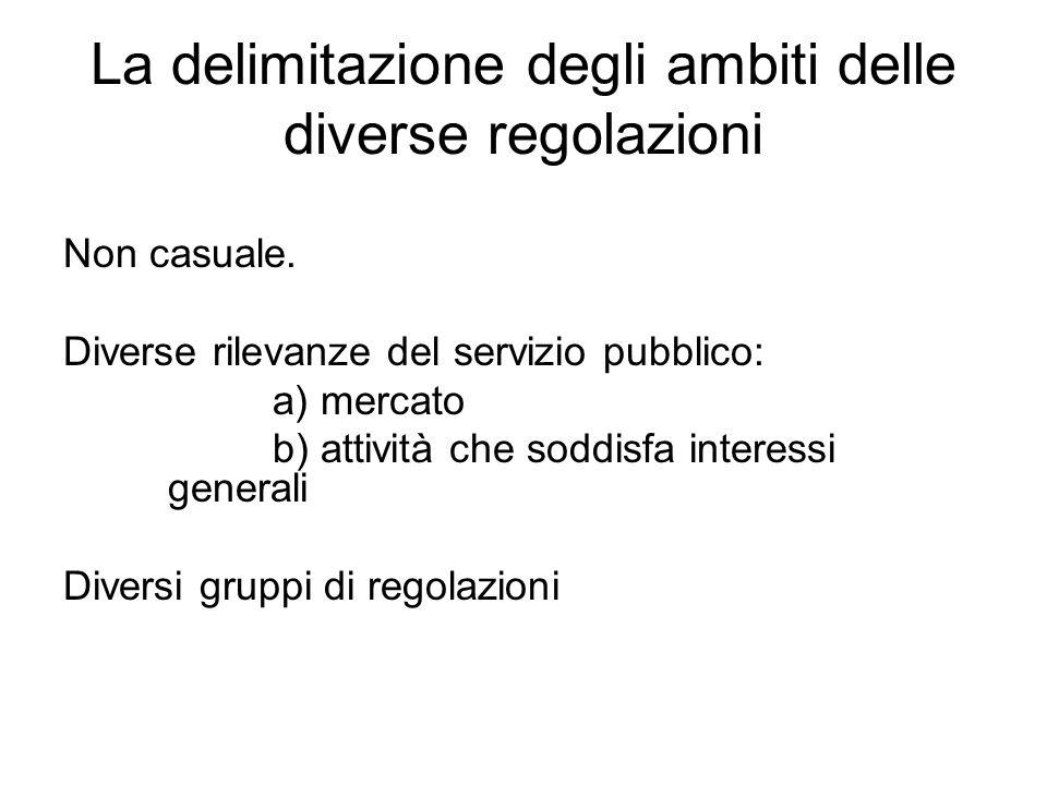 La delimitazione degli ambiti delle diverse regolazioni Non casuale. Diverse rilevanze del servizio pubblico: a) mercato b) attività che soddisfa inte