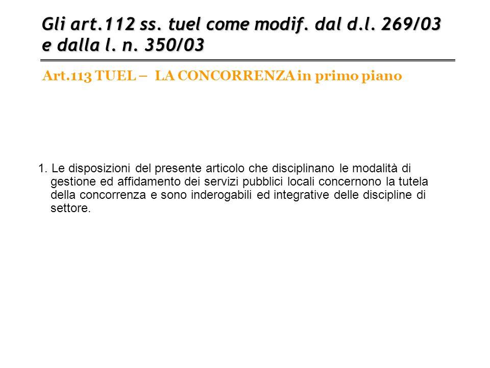 Art.113 TUEL – LA CONCORRENZA in primo piano Gli art.112 ss. tuel come modif. dal d.l. 269/03 e dalla l. n. 350/03 1. Le disposizioni del presente art