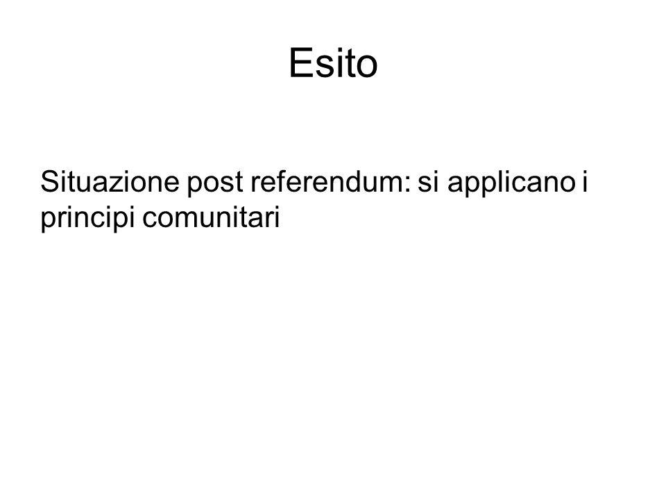 Esito Situazione post referendum: si applicano i principi comunitari