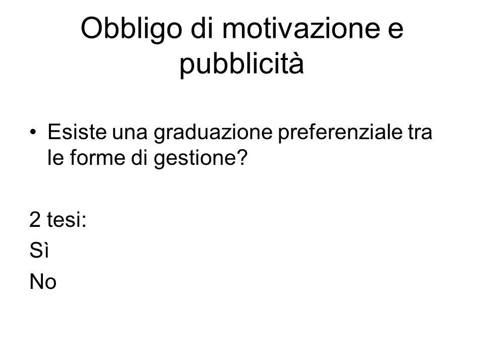 Obbligo di motivazione e pubblicità Esiste una graduazione preferenziale tra le forme di gestione? 2 tesi: Sì No