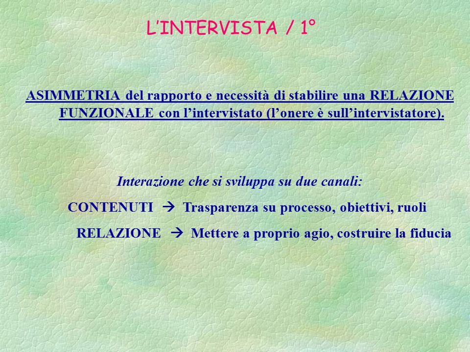 L'INTERVISTA / 1° ASIMMETRIA del rapporto e necessità di stabilire una RELAZIONE FUNZIONALE con l'intervistato (l'onere è sull'intervistatore).