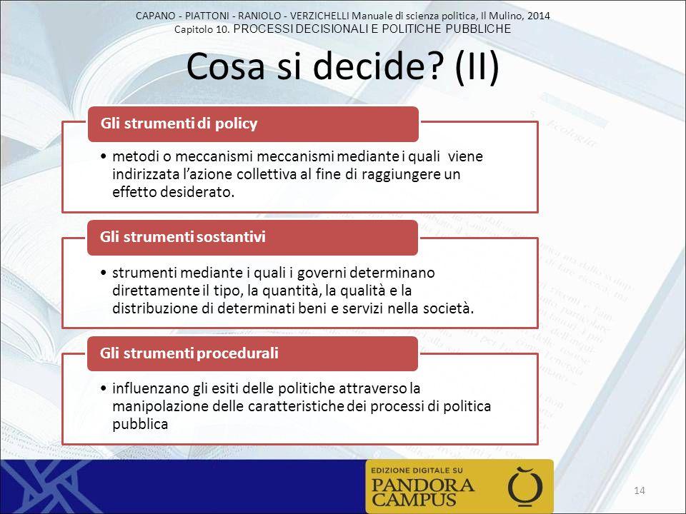 CAPANO - PIATTONI - RANIOLO - VERZICHELLI Manuale di scienza politica, Il Mulino, 2014 Capitolo 10. PROCESSI DECISIONALI E POLITICHE PUBBLICHE Cosa si