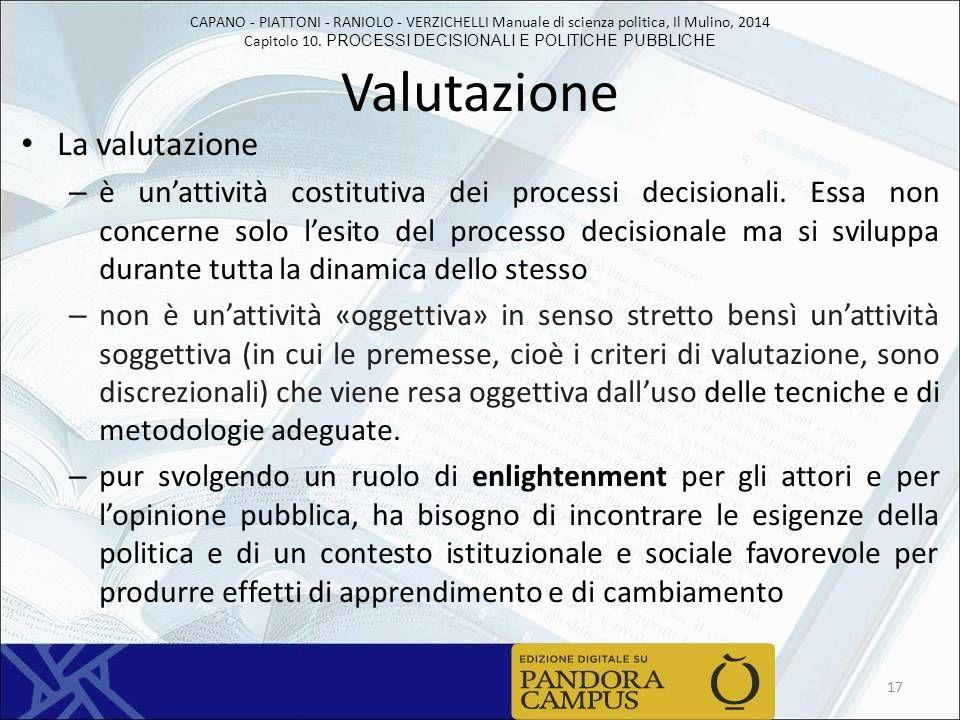 CAPANO - PIATTONI - RANIOLO - VERZICHELLI Manuale di scienza politica, Il Mulino, 2014 Capitolo 10. PROCESSI DECISIONALI E POLITICHE PUBBLICHE Valutaz