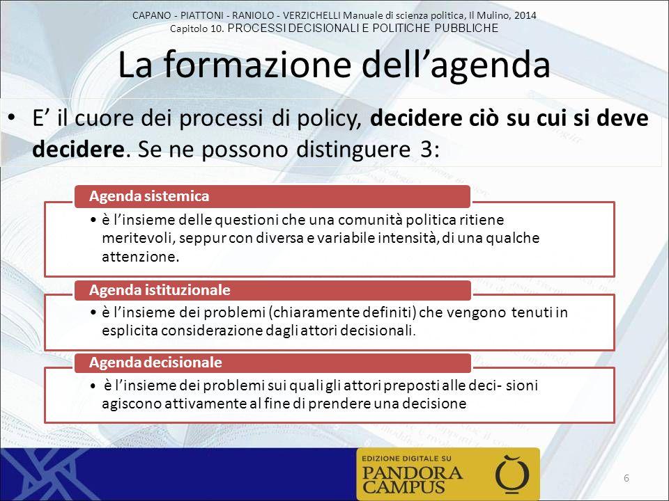 CAPANO - PIATTONI - RANIOLO - VERZICHELLI Manuale di scienza politica, Il Mulino, 2014 Capitolo 10. PROCESSI DECISIONALI E POLITICHE PUBBLICHE La form