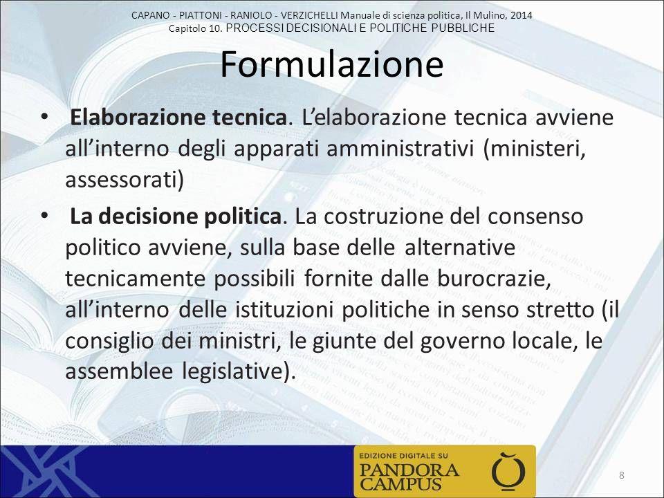 CAPANO - PIATTONI - RANIOLO - VERZICHELLI Manuale di scienza politica, Il Mulino, 2014 Capitolo 10. PROCESSI DECISIONALI E POLITICHE PUBBLICHE Formula