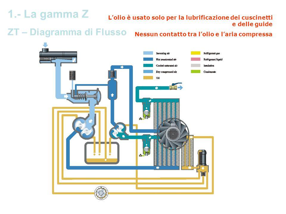 L'olio è usato solo per la lubrificazione dei cuscinetti e delle guide Nessun contatto tra l'olio e l'aria compressa Operating Principle ZT Air Cooled