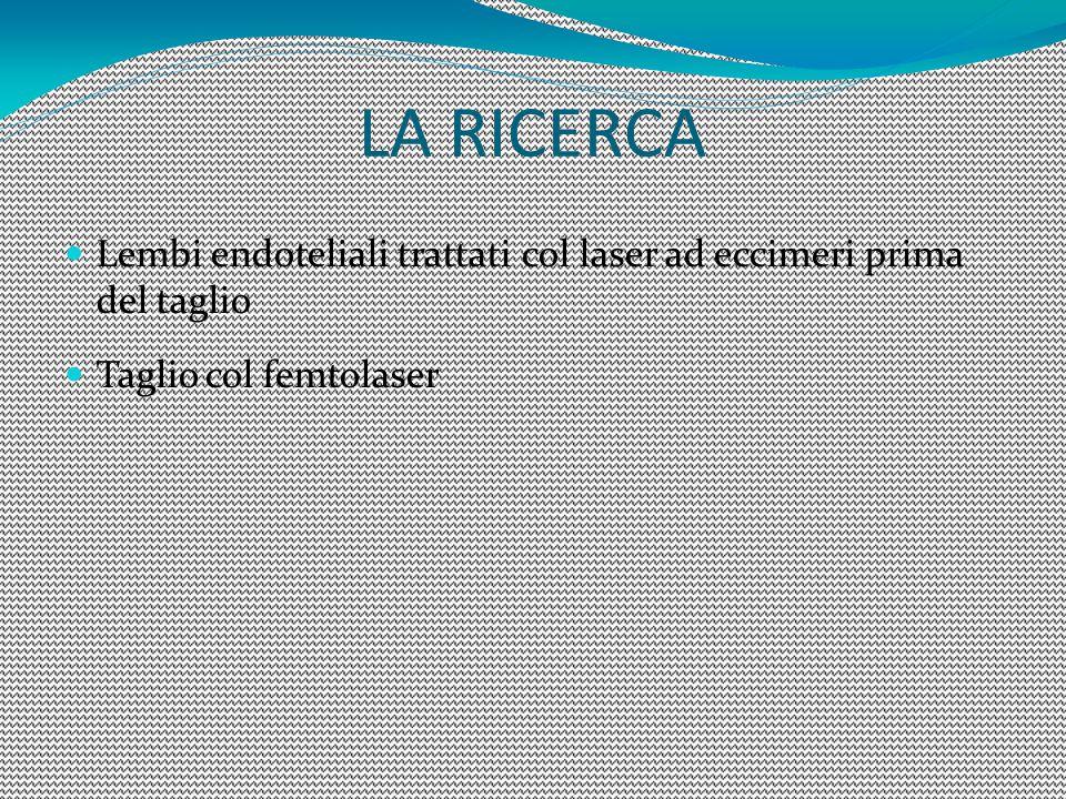 LA RICERCA Lembi endoteliali trattati col laser ad eccimeri prima del taglio Taglio col femtolaser