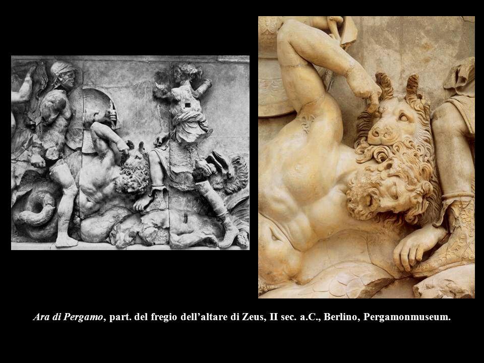 Ara di Pergamo, part. del fregio dell'altare di Zeus, II sec. a.C., Berlino, Pergamonmuseum.