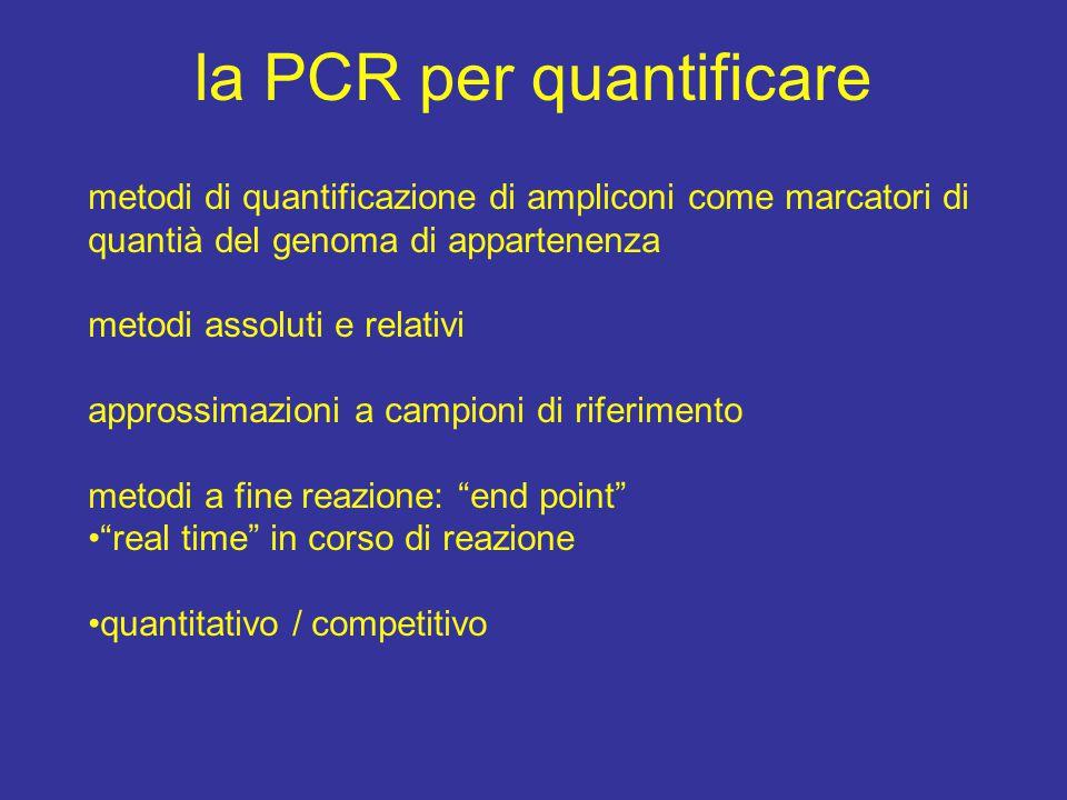 la PCR per quantificare metodi di quantificazione di ampliconi come marcatori di quantià del genoma di appartenenza metodi assoluti e relativi approssimazioni a campioni di riferimento metodi a fine reazione: end point real time in corso di reazione quantitativo / competitivo