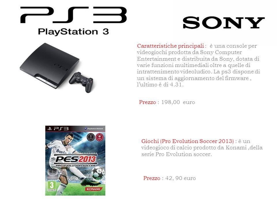 Caratteristiche principali : è una console per videogiochi prodotta da Sony Computer Entertainment e distribuita da Sony, dotata di varie funzioni multimediali oltre a quelle di intrattenimento videoludico.