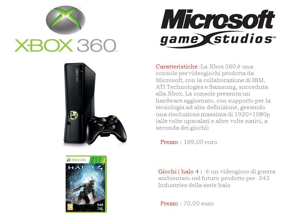 Caratteristiche :La Xbox 360 è una console per videogiochi prodotta da Microsoft, con la collaborazione di IBM, ATI Technologies e Samsung, succeduta alla Xbox.