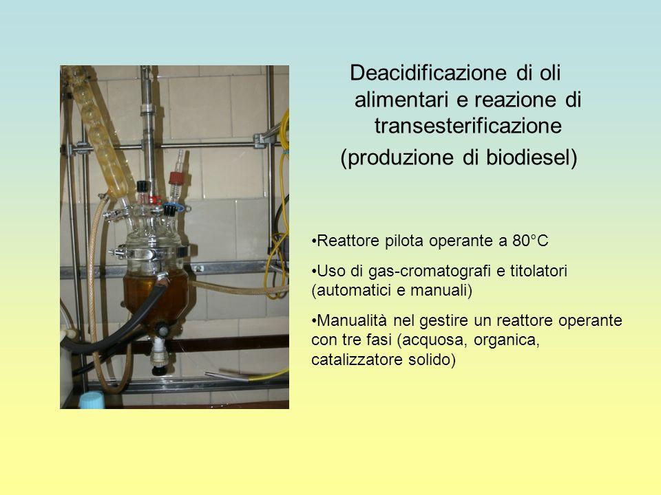 Utilizzo di un reattore micropilota ad alta T e P Uso di un microgas-cromatografo on- line Uso di un gas-cromatografo off-line Preparazione di catalizzatori eterogenei Produzione di idrocarburi per benzine e diesel a partire da gas di sintesi (CO e H2) mediante idrogenazione catalitica in collaborazione con le seguenti Università: Austin (Texas), Bar-Ilan (Israele), Parma, Pisa, L'Aquila, Messina, Perugia