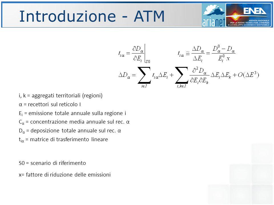 Introduzione - ATM i, k = aggregati territoriali (regioni) α = recettori sul reticolo I E i = emissione totale annuale sulla regione i C α = concentra