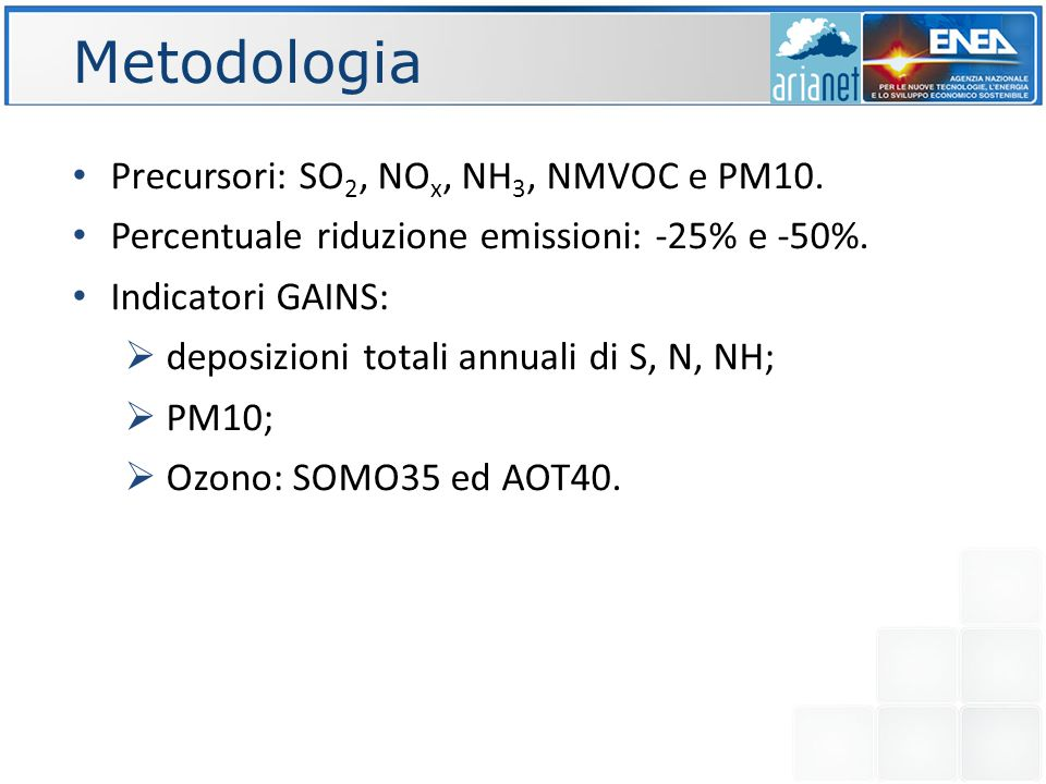 Metodologia Precursori: SO 2, NO x, NH 3, NMVOC e PM10.