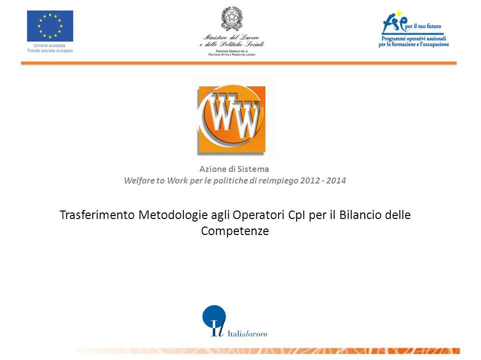 Azione di Sistema Welfare to Work per le politiche di reimpiego 2012 - 2014 Trasferimento Metodologie agli Operatori CpI per il Bilancio delle Competenze