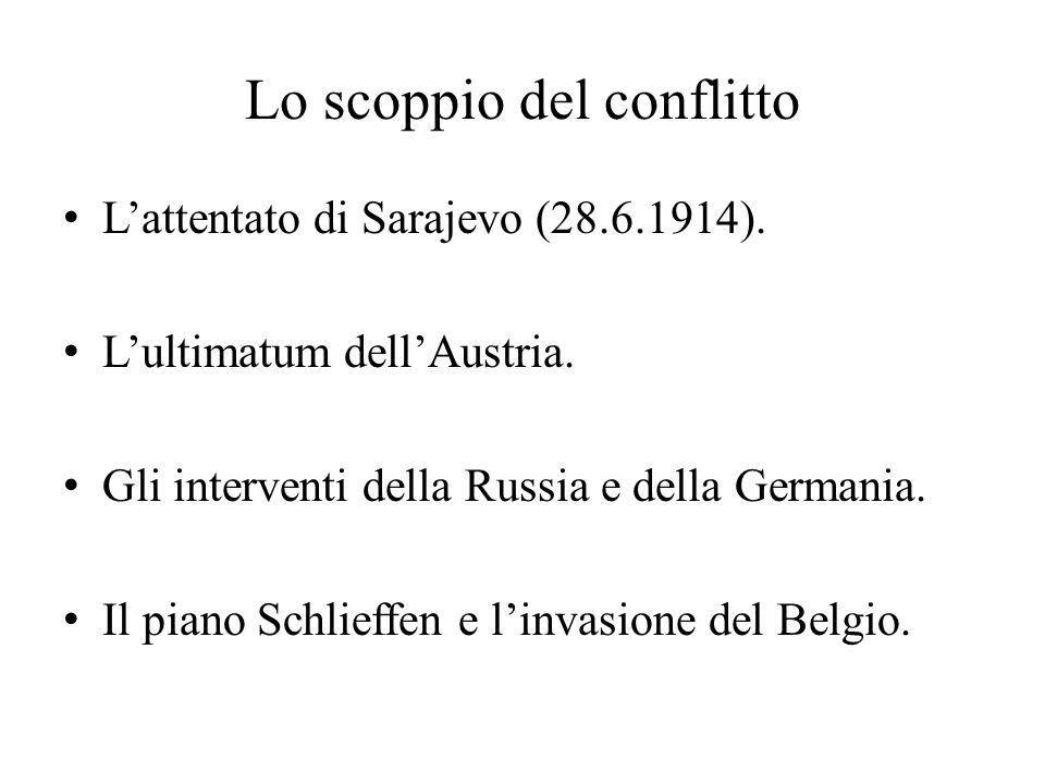 Lo scoppio del conflitto L'attentato di Sarajevo (28.6.1914). L'ultimatum dell'Austria. Gli interventi della Russia e della Germania. Il piano Schlief