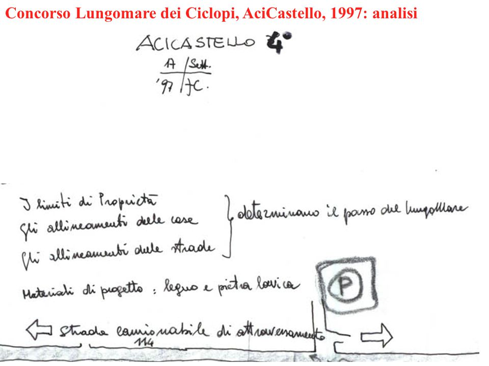 Concorso Lungomare dei Ciclopi, AciCastello, 1997: analisi