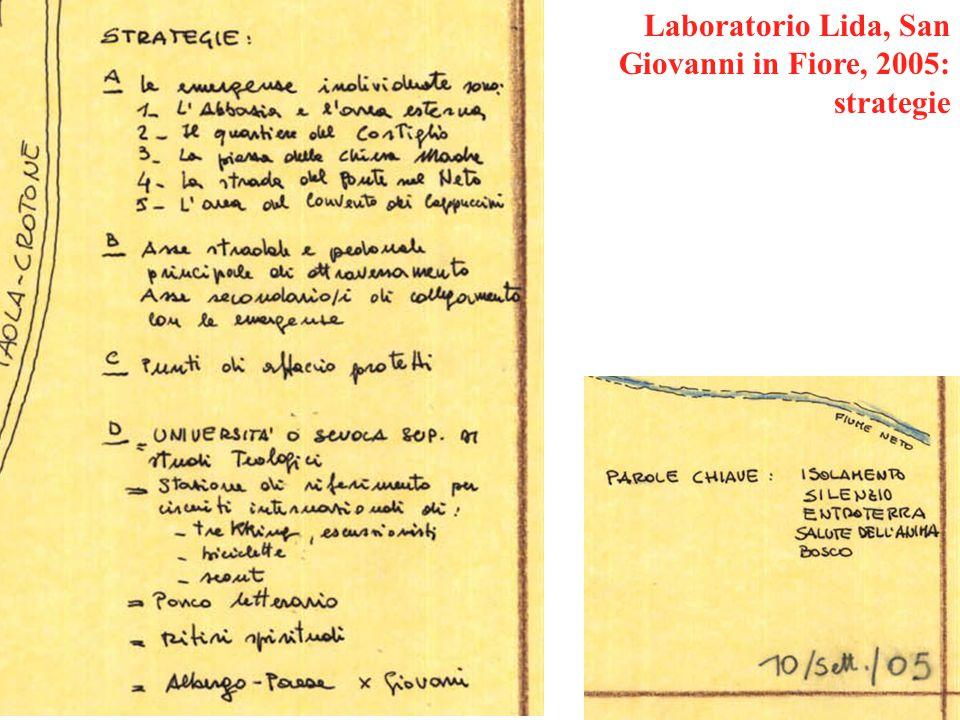 Laboratorio Lida, San Giovanni in Fiore, 2005: strategie