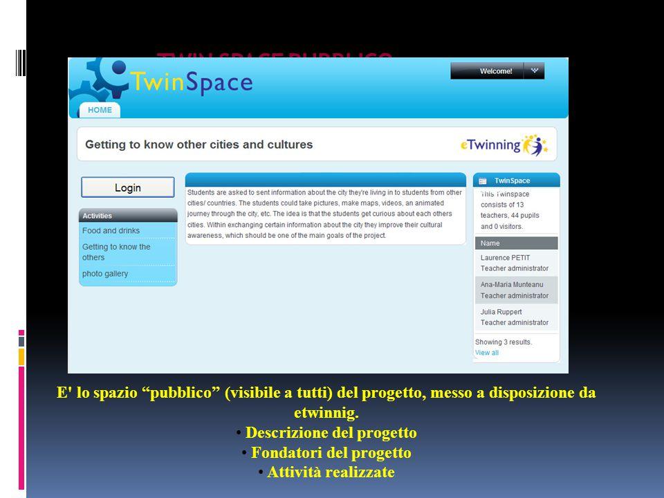 TWIN SPACE PUBBLICO E lo spazio pubblico (visibile a tutti) del progetto, messo a disposizione da etwinnig.
