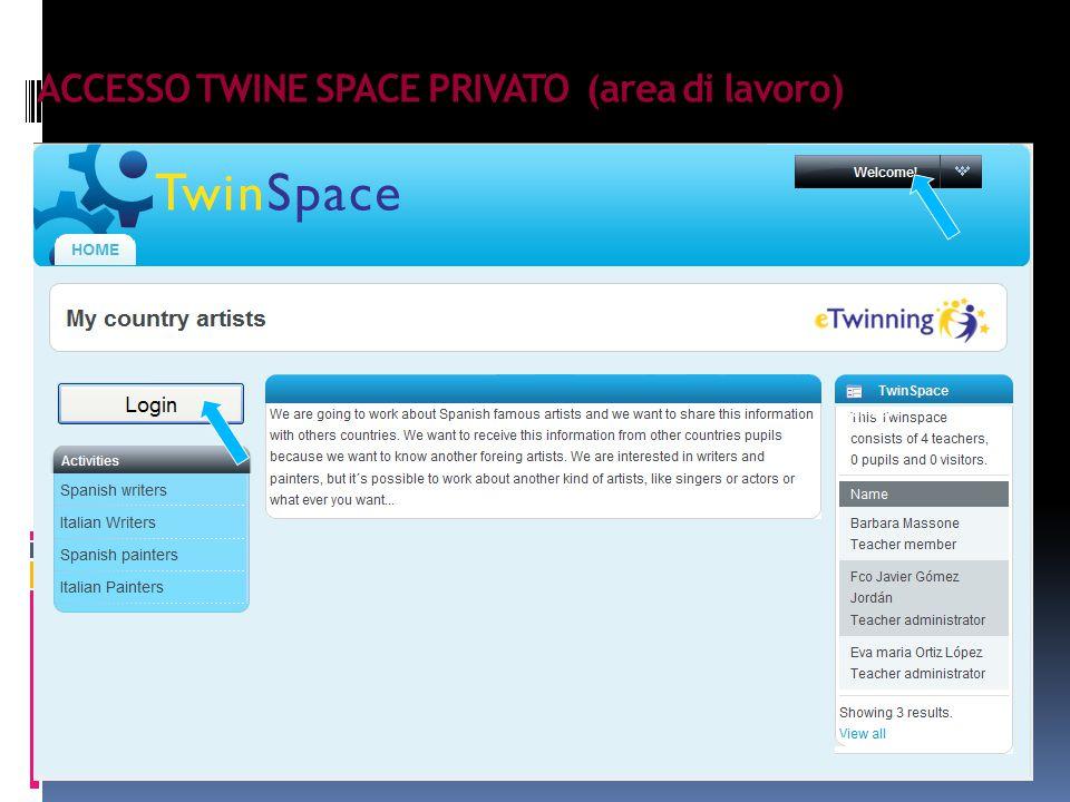 ACCESSO TWINE SPACE PRIVATO (area di lavoro)