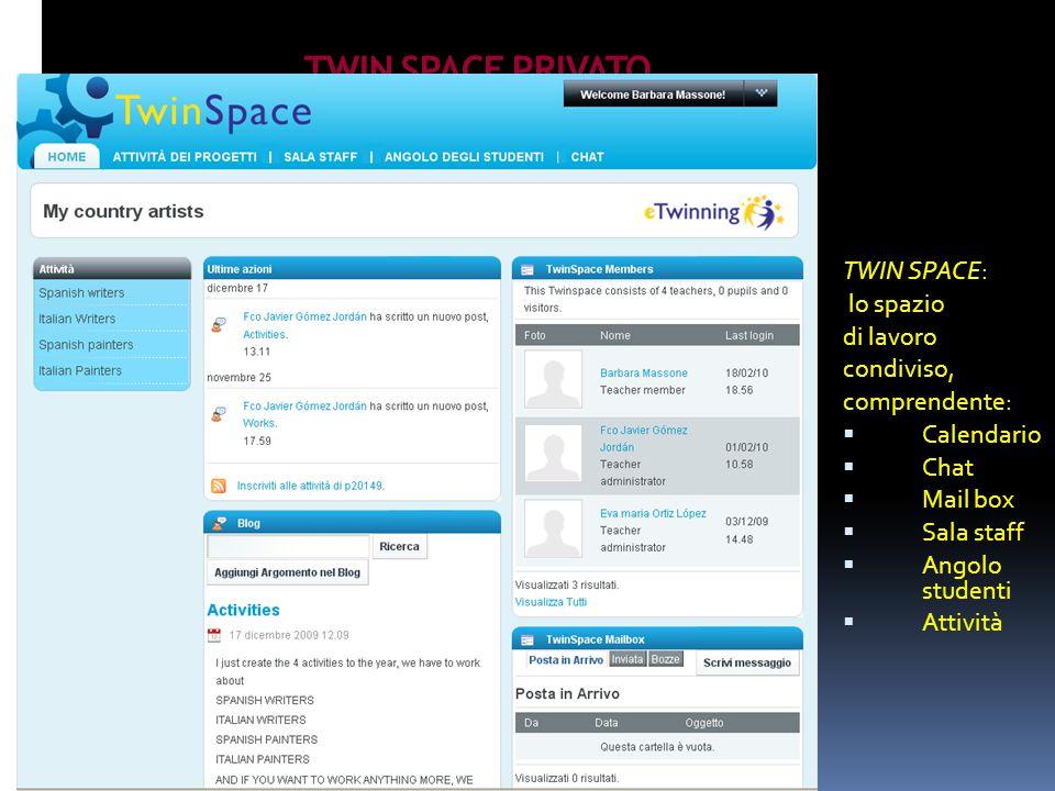 TWIN SPACE PRIVATO TWIN SPACE: lo spazio di lavoro condiviso, comprendente:  Calendario  Chat  Mail box  Sala staff  Angolo studenti  Attività