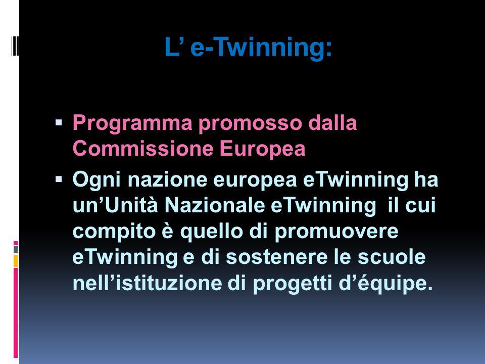 L' e-Twinning:  Programma promosso dalla Commissione Europea  Ogni nazione europea eTwinning ha un'Unità Nazionale eTwinning il cui compito è quello di promuovere eTwinning e di sostenere le scuole nell'istituzione di progetti d'équipe.