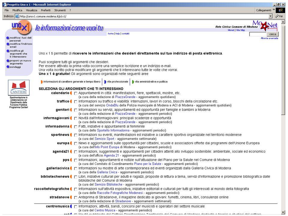 Dai Canali di ricezione alla riprogettazione … Ottimizzazione interfacce Percorsi di navigazione guidati Metafore Eventi della vita Semplificazione del linguaggio Test di usabilità