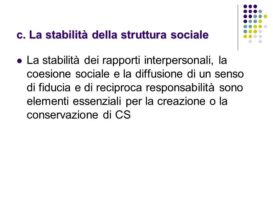 c. La stabilità della struttura sociale La stabilità dei rapporti interpersonali, la coesione sociale e la diffusione di un senso di fiducia e di reci