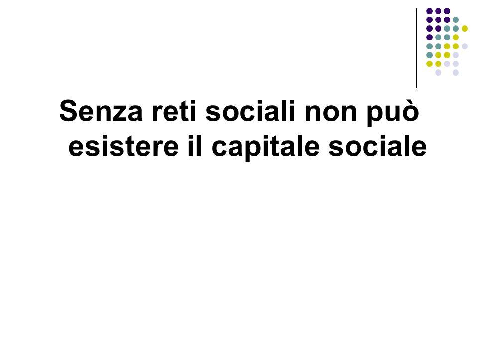 Senza reti sociali non può esistere il capitale sociale
