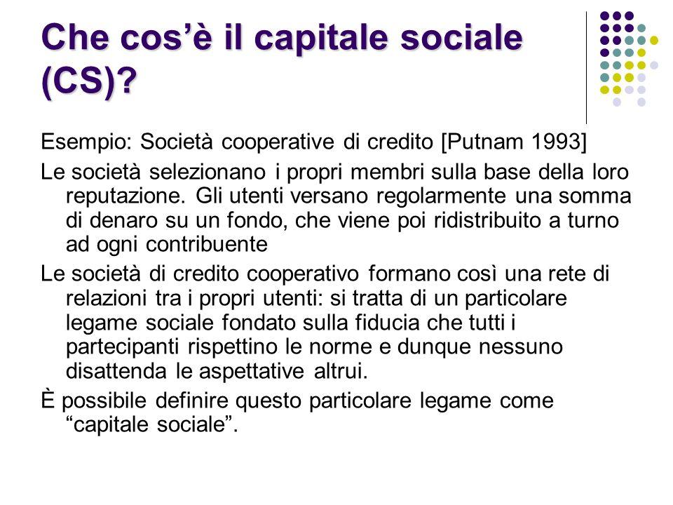 Che cos'è il capitale sociale (CS).