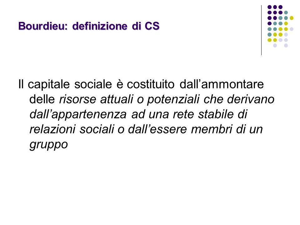 Bourdieu: definizione di CS Il capitale sociale è costituito dall'ammontare delle risorse attuali o potenziali che derivano dall'appartenenza ad una rete stabile di relazioni sociali o dall'essere membri di un gruppo
