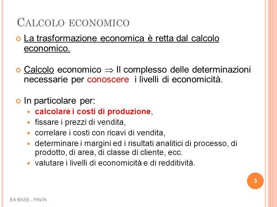 C ALCOLO ECONOMICO La trasformazione economica è retta dal calcolo economico.