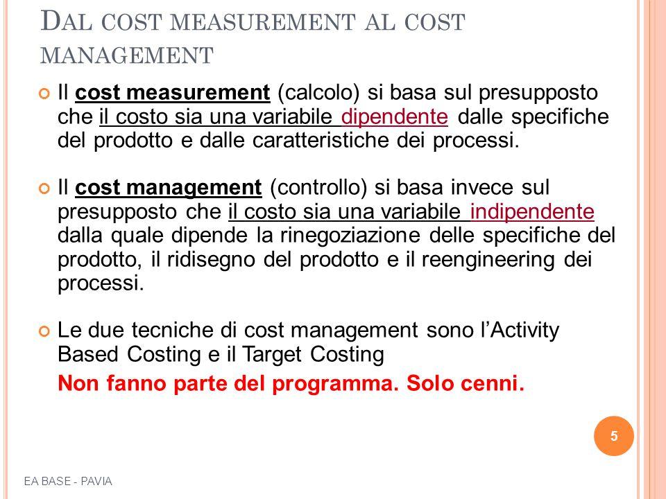 D AL COST MEASUREMENT AL COST MANAGEMENT Il cost measurement (calcolo) si basa sul presupposto che il costo sia una variabile dipendente dalle specifi
