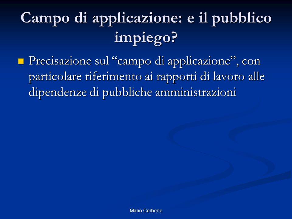 Campo di applicazione: e il pubblico impiego.