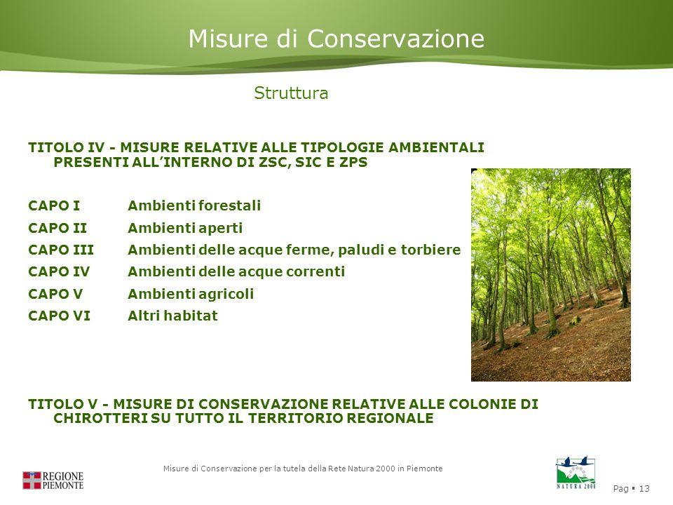 Pag  13 Misure di Conservazione per la tutela della Rete Natura 2000 in Piemonte Misure di Conservazione Struttura TITOLO IV - MISURE RELATIVE ALLE T