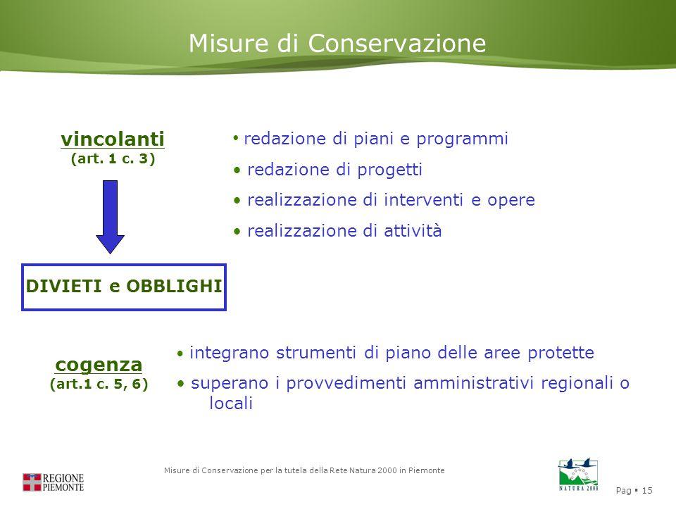 Pag  15 Misure di Conservazione per la tutela della Rete Natura 2000 in Piemonte Misure di Conservazione vincolanti (art. 1 c. 3) DIVIETI e OBBLIGHI