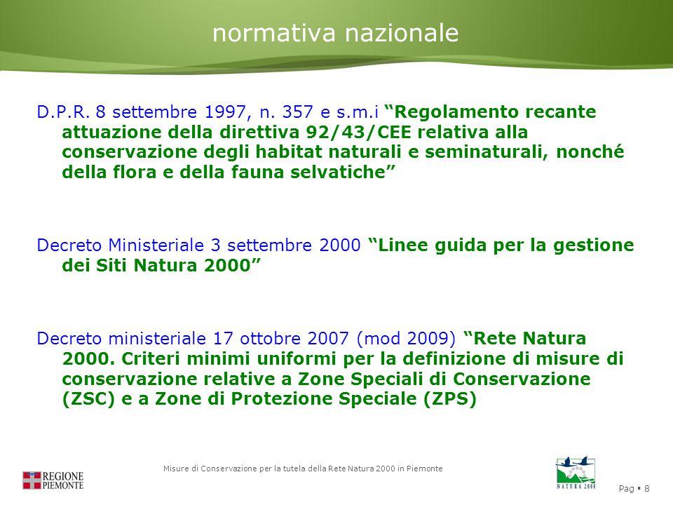 """Pag  8 Misure di Conservazione per la tutela della Rete Natura 2000 in Piemonte normativa nazionale D.P.R. 8 settembre 1997, n. 357 e s.m.i """"Regolame"""