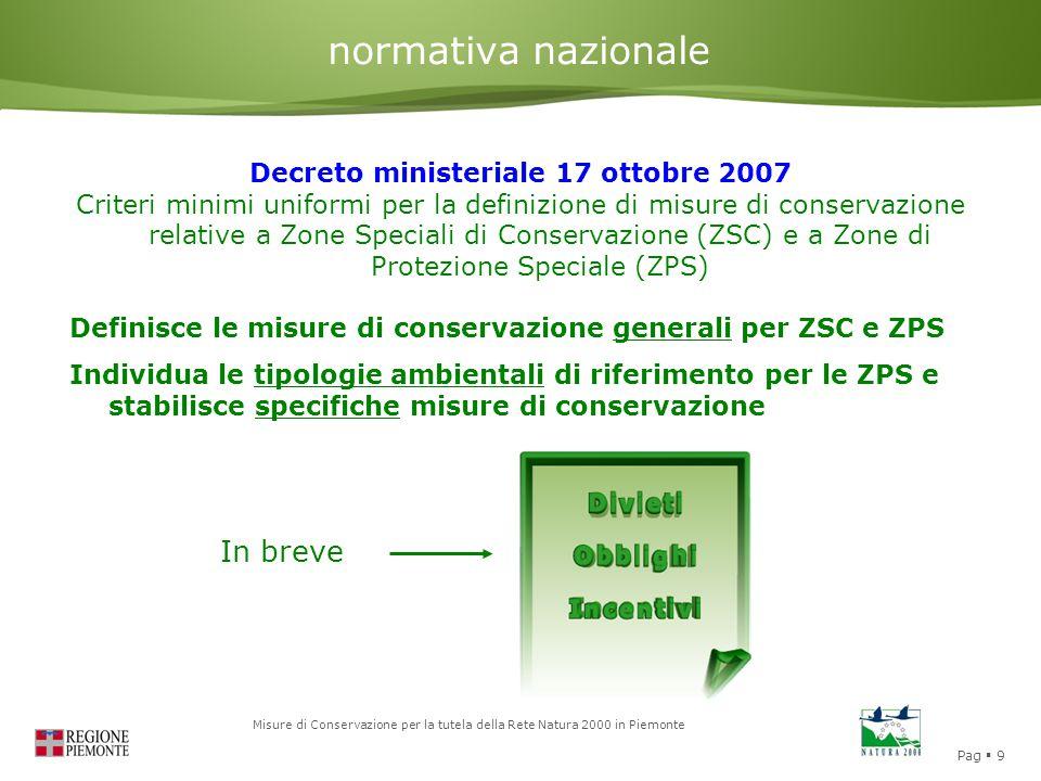 Pag  9 Misure di Conservazione per la tutela della Rete Natura 2000 in Piemonte normativa nazionale Decreto ministeriale 17 ottobre 2007 Criteri mini