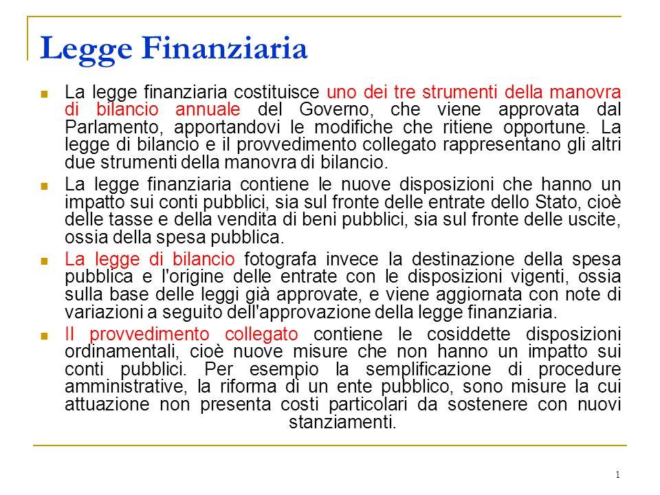 1 Legge Finanziaria La legge finanziaria costituisce uno dei tre strumenti della manovra di bilancio annuale del Governo, che viene approvata dal Parlamento, apportandovi le modifiche che ritiene opportune.