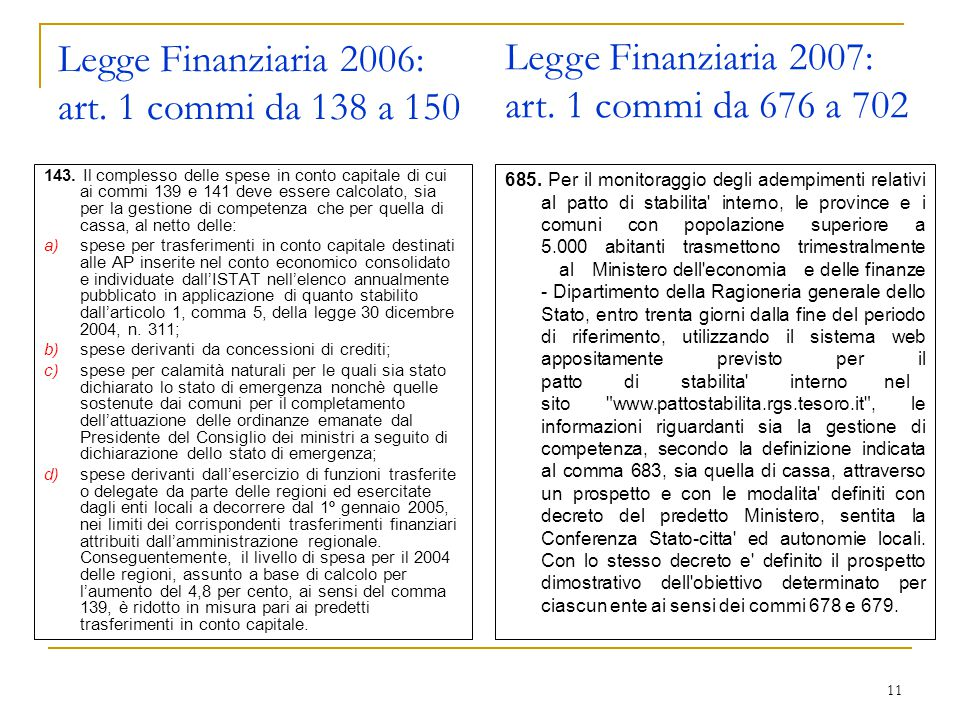 11 Legge Finanziaria 2006: art. 1 commi da 138 a 150 143.