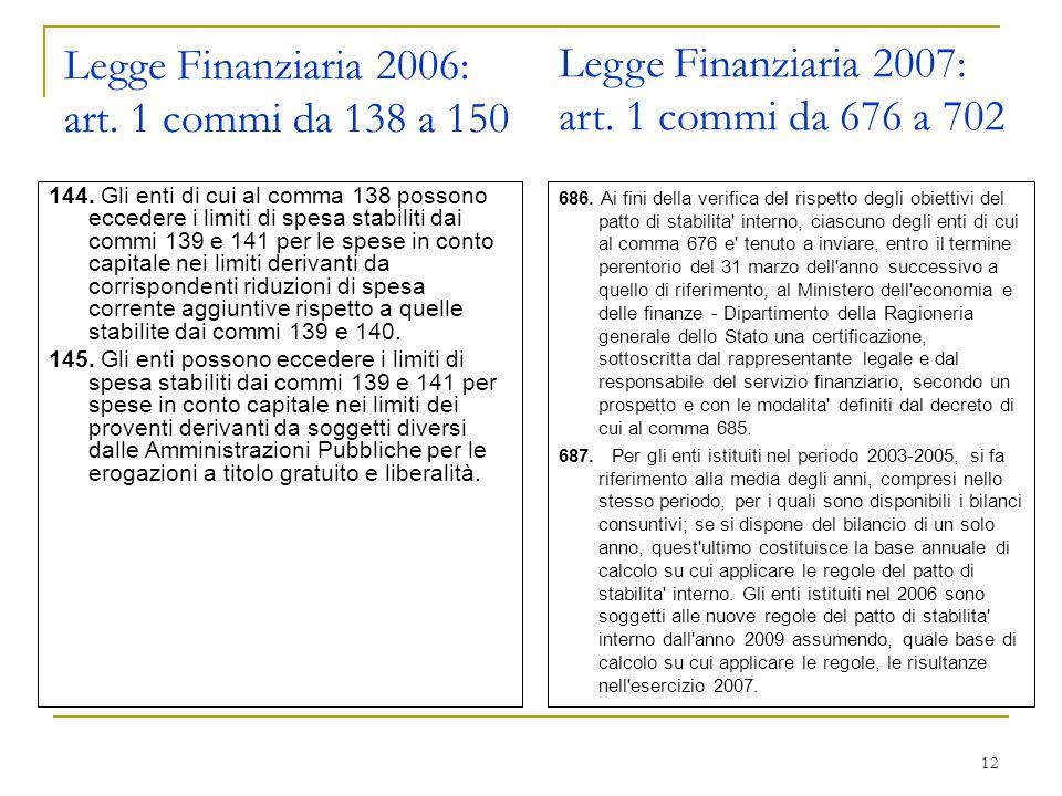 12 Legge Finanziaria 2006: art. 1 commi da 138 a 150 144.