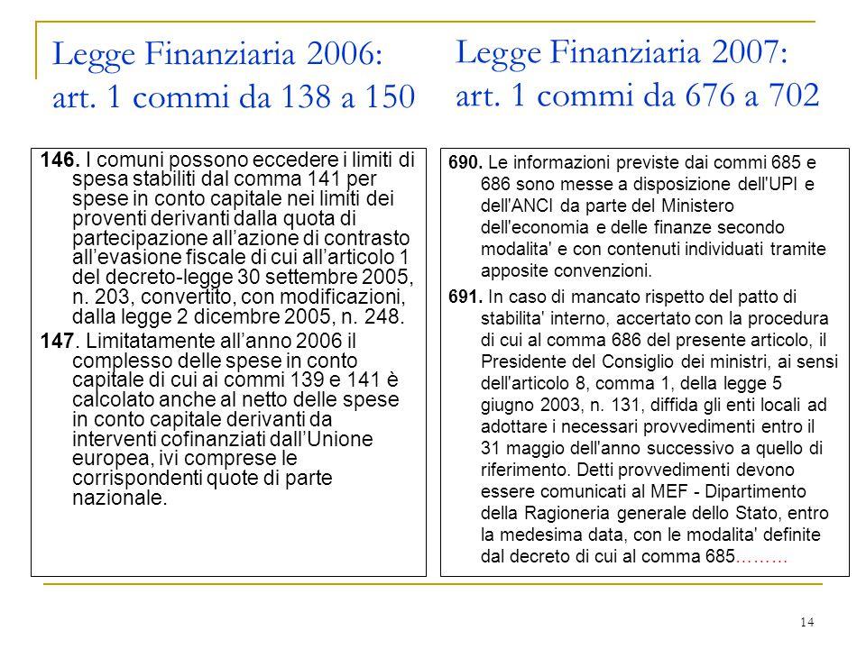 14 Legge Finanziaria 2006: art. 1 commi da 138 a 150 146.