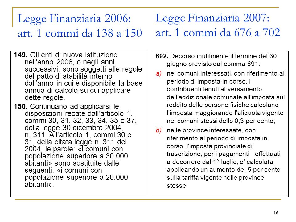16 Legge Finanziaria 2006: art. 1 commi da 138 a 150 149.