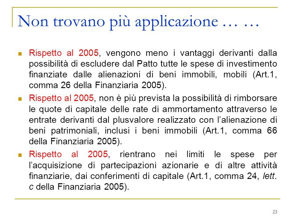 25 Non trovano più applicazione … … Rispetto al 2005, vengono meno i vantaggi derivanti dalla possibilità di escludere dal Patto tutte le spese di investimento finanziate dalle alienazioni di beni immobili, mobili (Art.1, comma 26 della Finanziaria 2005).