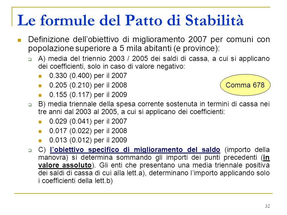 32 Le formule del Patto di Stabilità Definizione dell'obiettivo di miglioramento 2007 per comuni con popolazione superiore a 5 mila abitanti (e province):  A) media del triennio 2003 / 2005 dei saldi di cassa, a cui si applicano dei coefficienti, solo in caso di valore negativo: 0.330 (0.400) per il 2007 0.205 (0.210) per il 2008 0.155 (0.117) per il 2009  B) media triennale della spesa corrente sostenuta in termini di cassa nei tre anni dal 2003 al 2005, a cui si applicano dei coefficienti: 0.029 (0.041) per il 2007 0.017 (0.022) per il 2008 0.013 (0.012) per il 2009  C) l'obiettivo specifico di miglioramento del saldo (importo della manovra) si determina sommando gli importi dei punti precedenti (in valore assoluto).