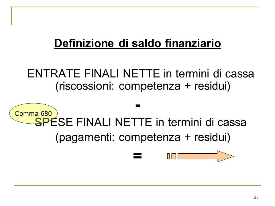 33 Definizione di saldo finanziario ENTRATE FINALI NETTE in termini di cassa (riscossioni: competenza + residui) - SPESE FINALI NETTE in termini di cassa (pagamenti: competenza + residui) = Comma 680