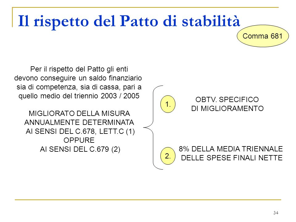 34 Il rispetto del Patto di stabilità Comma 681 Per il rispetto del Patto gli enti devono conseguire un saldo finanziario sia di competenza, sia di cassa, pari a quello medio del triennio 2003 / 2005 MIGLIORATO DELLA MISURA ANNUALMENTE DETERMINATA AI SENSI DEL C.678, LETT.C (1) OPPURE AI SENSI DEL C.679 (2) OBTV.