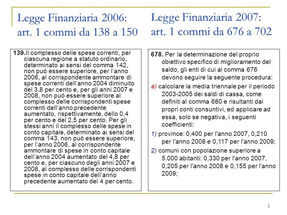 16 Legge Finanziaria 2006: art.1 commi da 138 a 150 149.