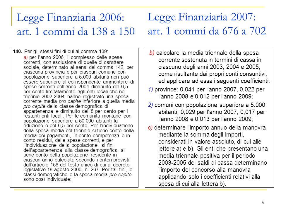 27 Il metodo di costruzione del Bilancio 2007 I nuovi meccanismi di calcolo prevedono di rispettare degli obiettivi programmatici che si basano sulla differenza tra le entrate (Titolo I, II, III e IV) e le spese (Titolo i e II), utilizzando come base di riferimento la media del triennio 2003 / 2005: MIGLIORAMENTO DEI SALDI Le novità sono tante sia sulla fiscalità locale, sia sulla determinazione delle possibili spese di investimento