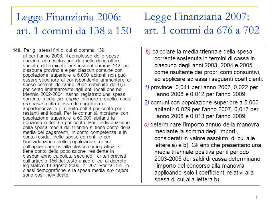 6 Legge Finanziaria 2006: art. 1 commi da 138 a 150 140.